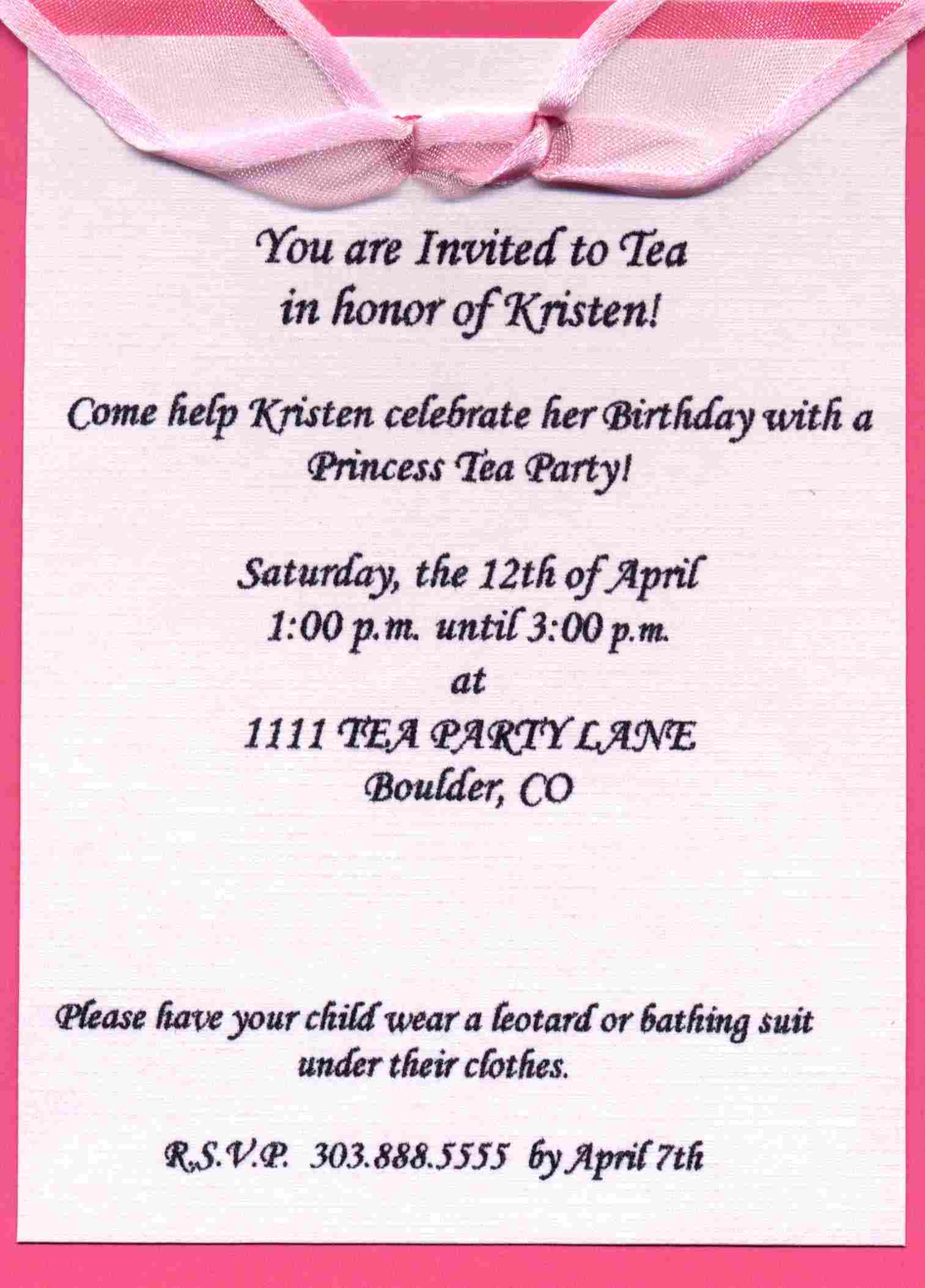Sample Birthday Party Invitations